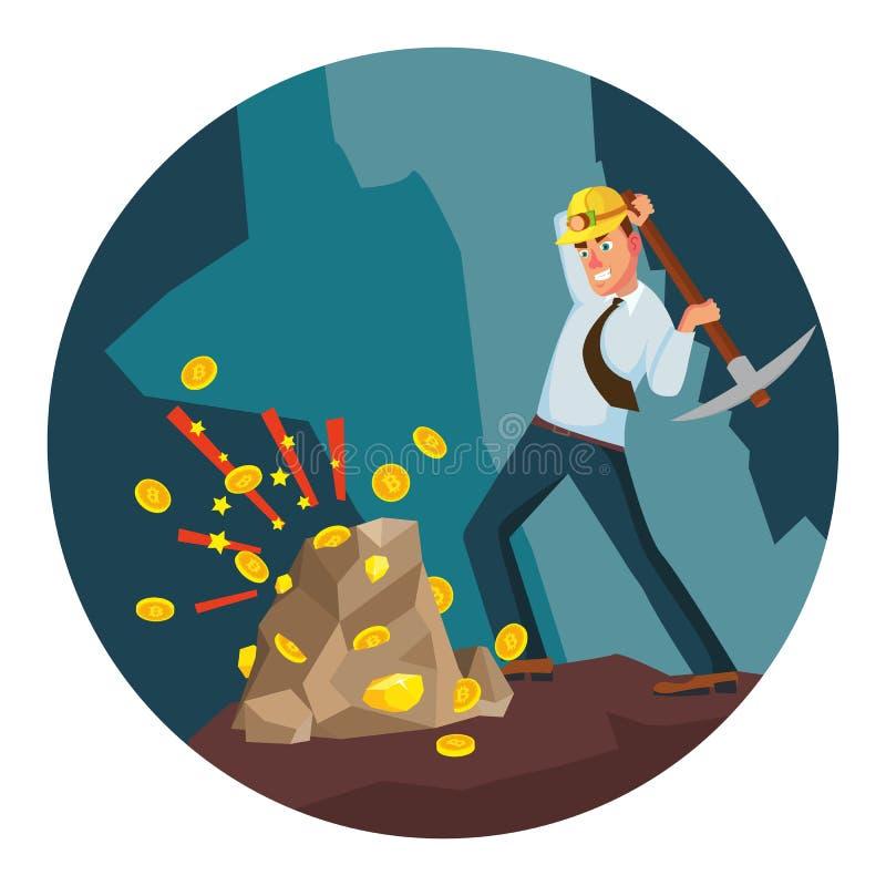 Minero Man Vector Minero moderno Businessman Moneda de Digitaces Ejemplo del personaje de dibujos animados stock de ilustración