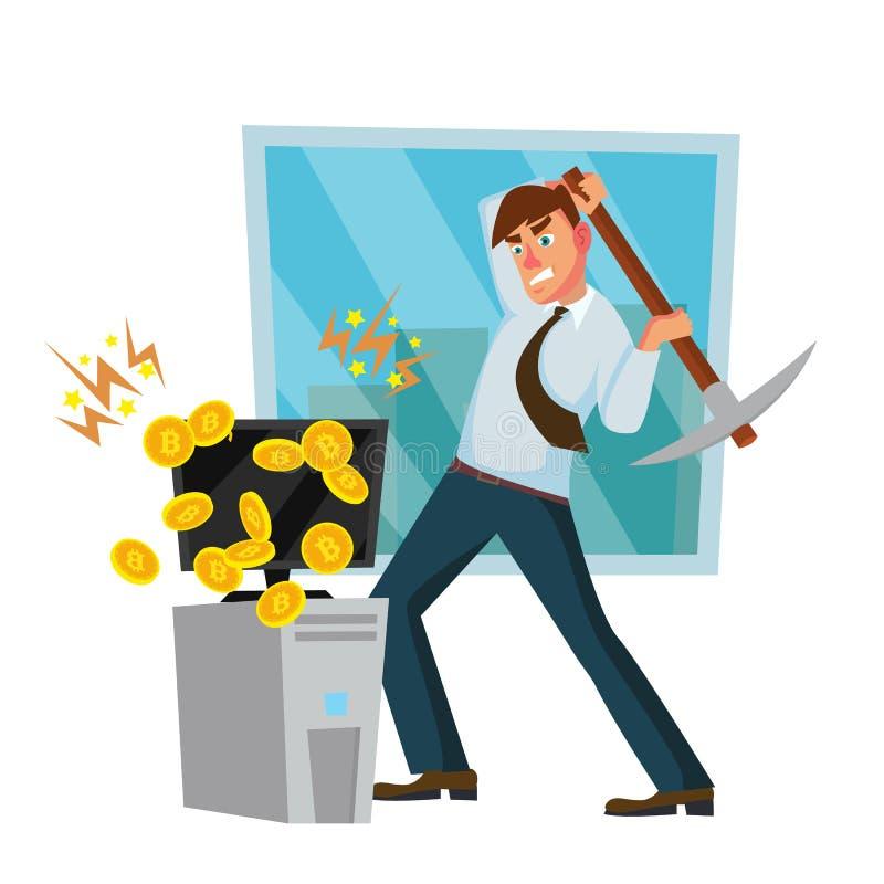 Minero Worker Man Vector Granja de la explotación minera de Cryptocurrency Éxito financiero que busca Personaje de dibujos animad ilustración del vector
