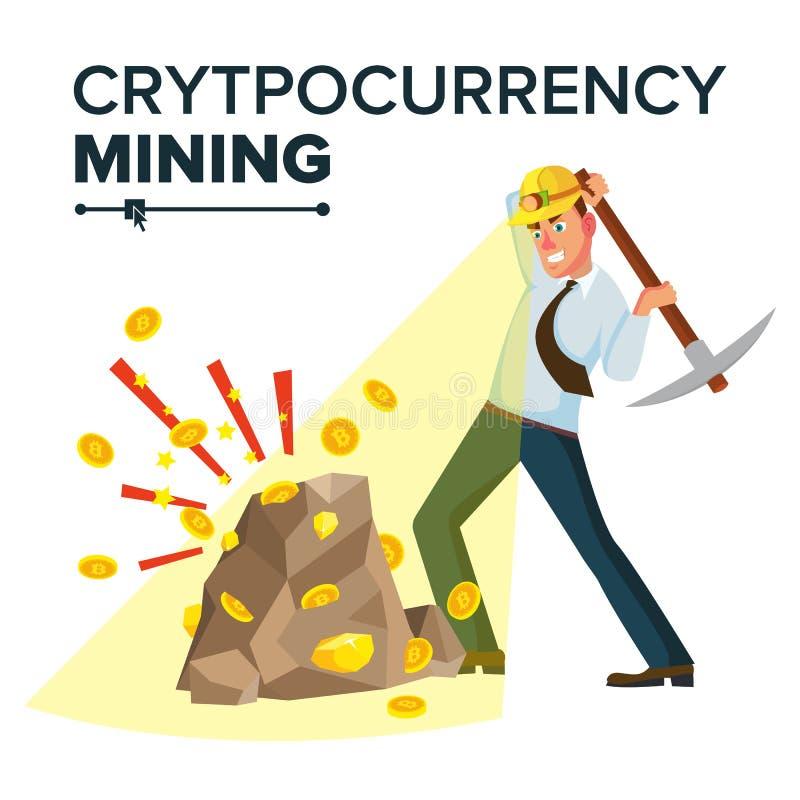 Minero Young Male Vector Monedas de oro de la explotación minera Concepto de Cryptocurrency Aislado en el ejemplo blanco del pers ilustración del vector