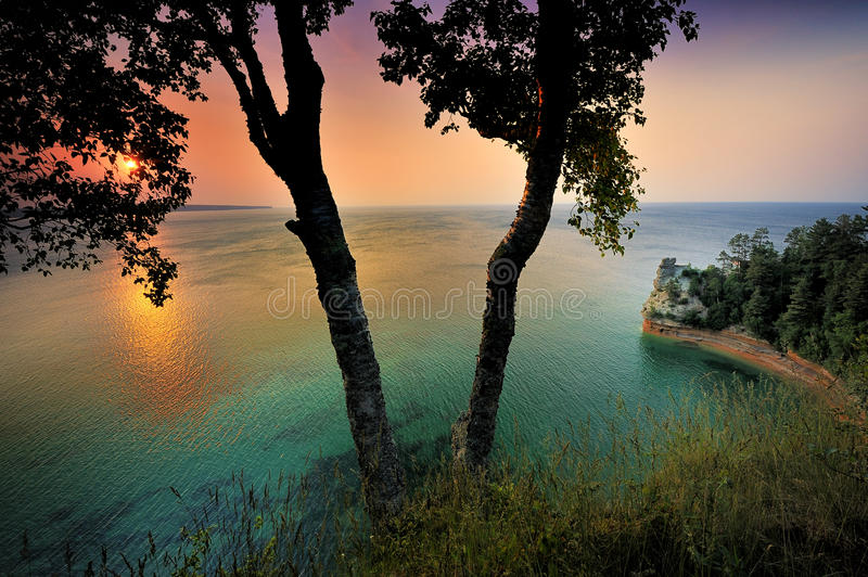 Miners Castle Sunset - Lake Superior royalty free stock photos
