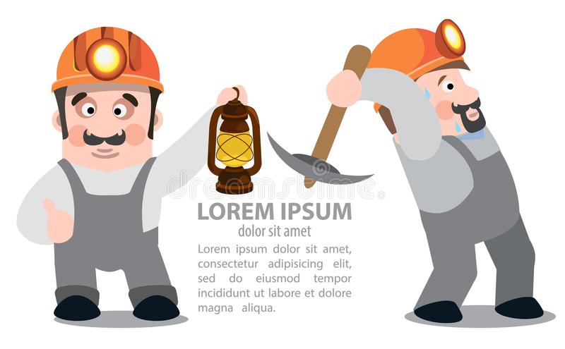 Miners with a pickaxe and a kerosene lamp royalty free illustration