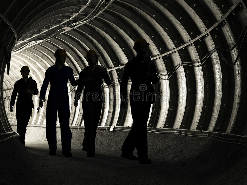 Miners. Silhouette of workers in mine