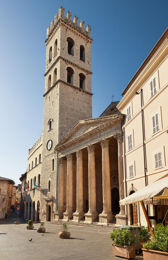 Minerva świątynia w Assisi Assisi, Umbria, Włochy zdjęcia stock