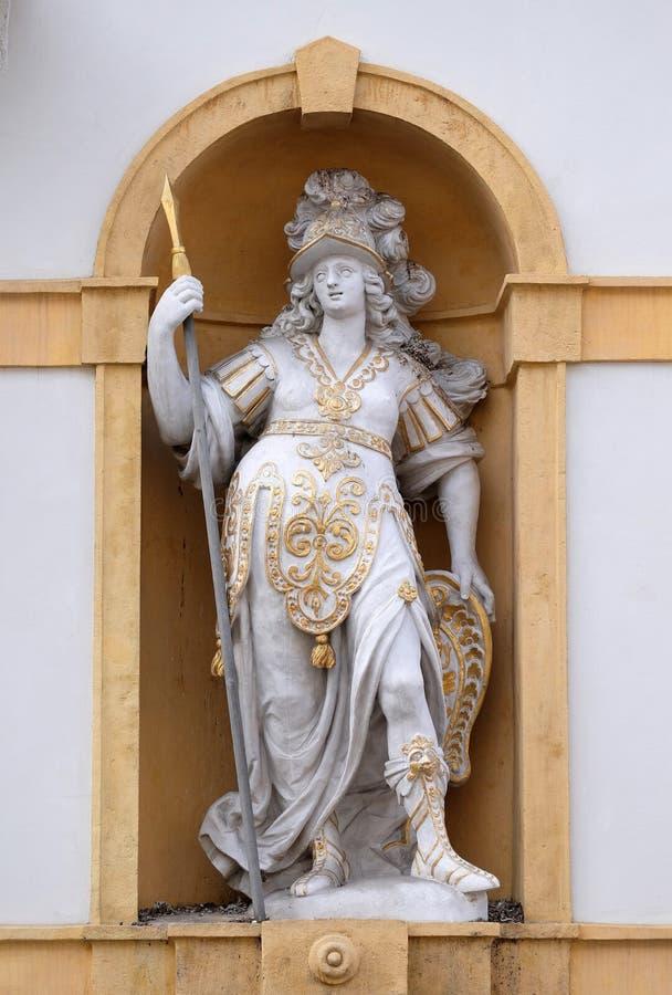 Minerva, romersk gudinna av vishet och sponsor av konster, handel och strategi arkivbild