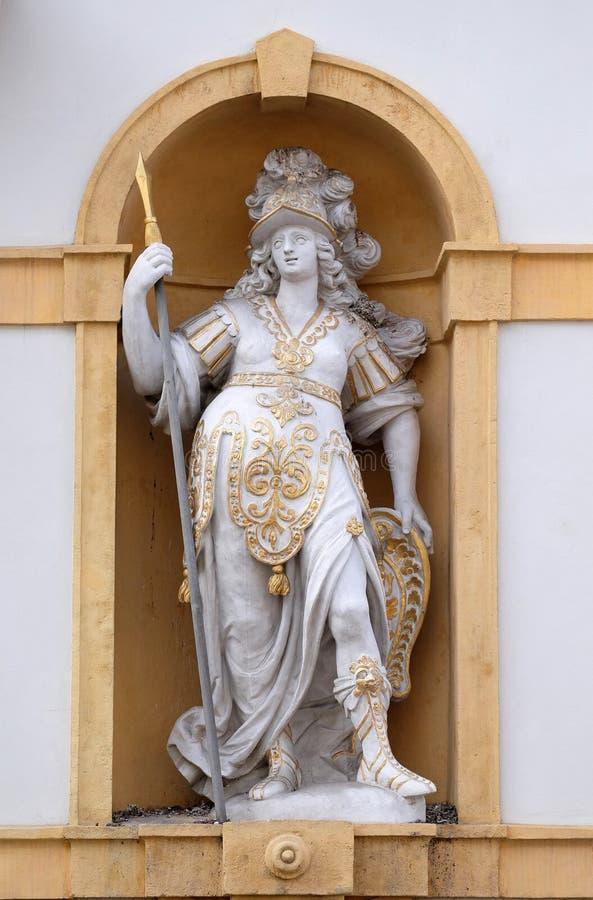 Minerva, romersk gudinna av vishet och sponsor av konster, handel och strategi royaltyfria foton