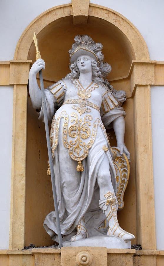 Minerva, romersk gudinna av vishet och sponsor av konster, handel och strategi arkivfoto