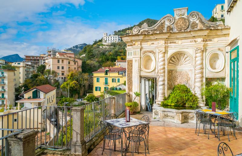Minerva`s Garden in Salerno, Campania, Italy. Salerno is a port city southeast of Naples, in Italy. Atop Monte Bonadies, the centuries-old Arechi Castle has sea royalty free stock image