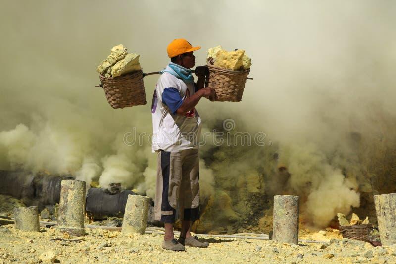 Mines de soufre Kawah Ijen dans Java-Orientale, Indonésie photo libre de droits