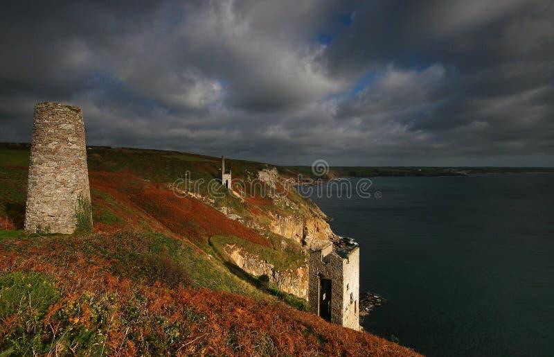 Mines at Trewavas Head Cornwall royalty free stock photos