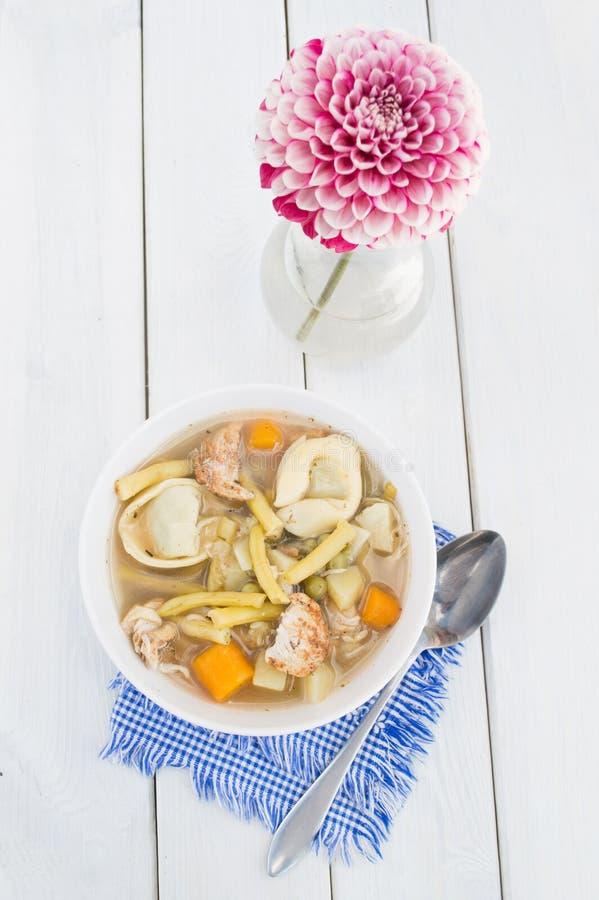 Minestra casalinga dei tortellini con il pollo e le verdure immagini stock