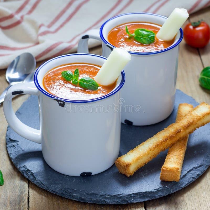 Minestra casalinga del basilico del pomodoro nella tazza, servita con il bastone ed i crostini del formaggio della mozzarella, fo fotografie stock libere da diritti