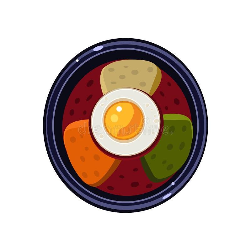 Minestra con i pani tostati e Fried Egg Served Food Vettore royalty illustrazione gratis