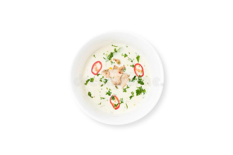 Minestra cremosa con il pollo e le verdure isolati su fondo bianco fotografie stock libere da diritti