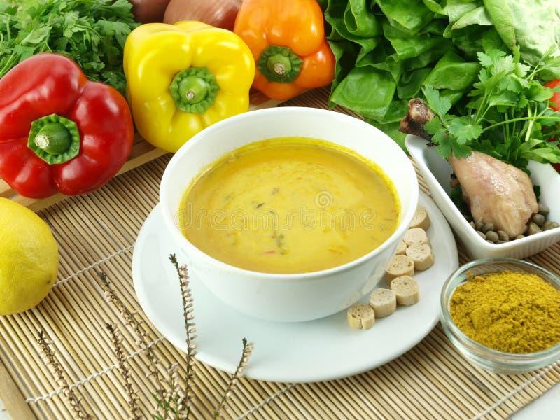 Minestra del curry e del pollo fotografie stock libere da diritti