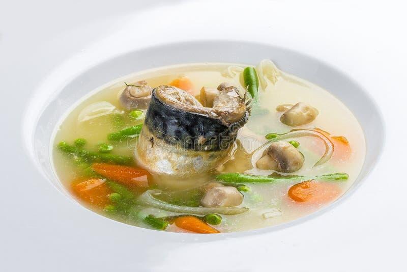 Minestra del pesce con lo sgombro e le verdure immagini stock libere da diritti