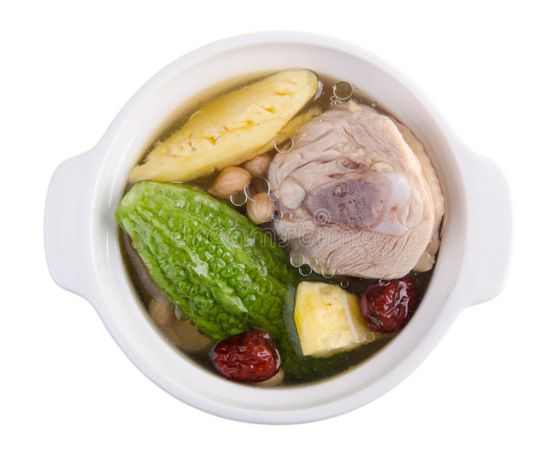 Minestra dell'erba e del pollo, stile cinese dell'alimento fotografia stock libera da diritti