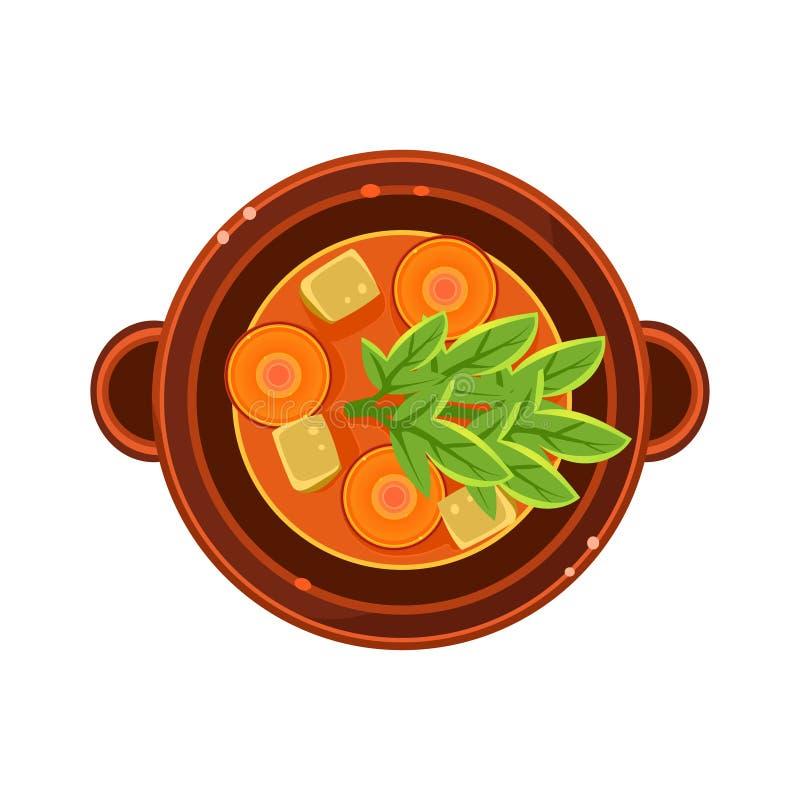 Minestra della carota e della verdura in una ciotola servita alimento royalty illustrazione gratis