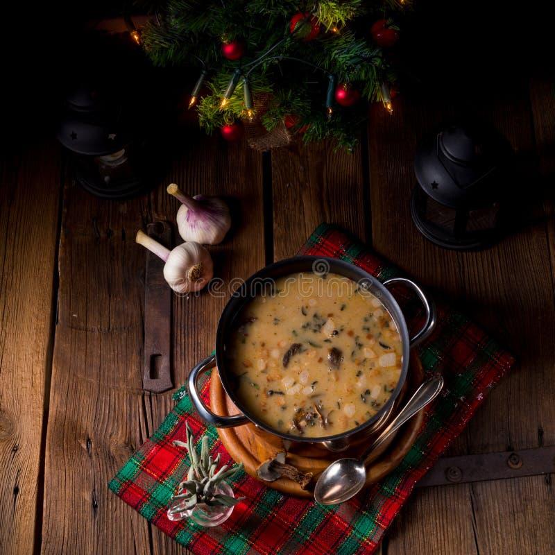 Minestra della noce del fungo di Natale immagini stock libere da diritti