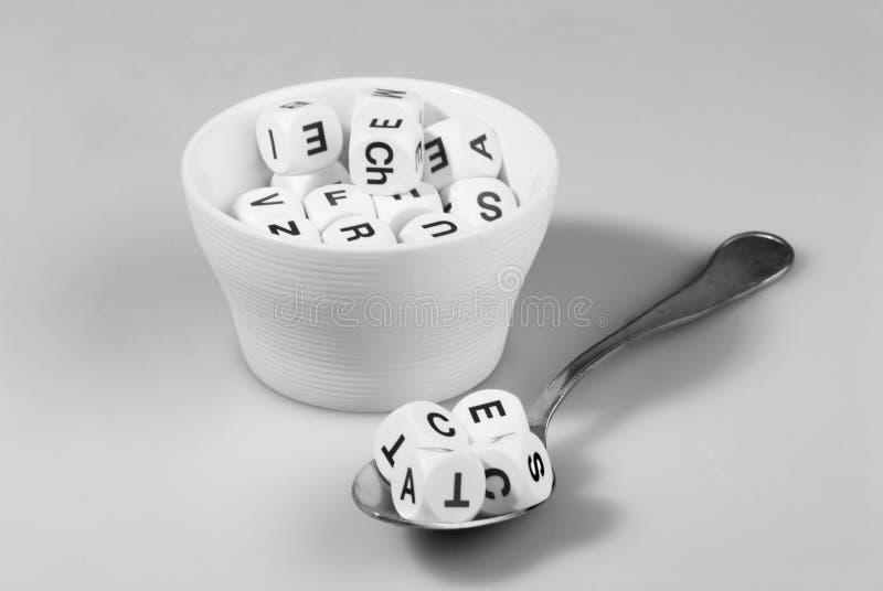 Minestra di alfabeto immagine stock