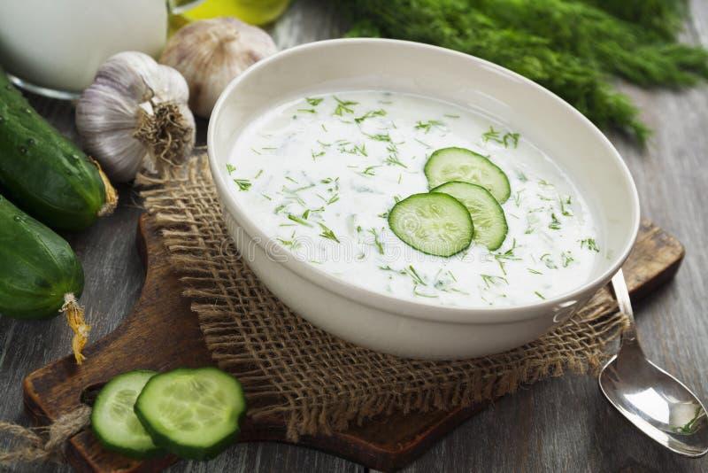 Minestra di estate con i cetrioli, il yogurt e le erbe fresche immagine stock libera da diritti