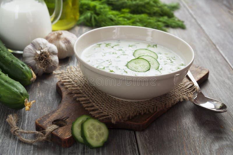 Minestra di estate con i cetrioli, il yogurt e le erbe fresche immagine stock