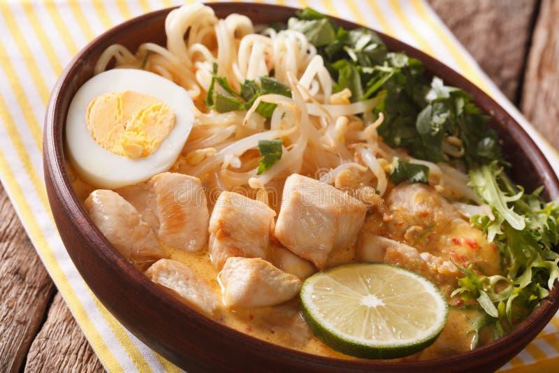 Minestra di Laksa dell'asiatico con il pollo, l'uovo, le tagliatelle, i germogli e il coriand fotografia stock