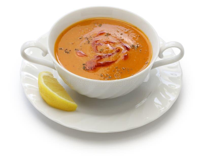 Minestra di lenticchia rossa, cucina turca immagini stock