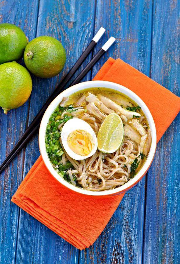 Minestra di pasta del pollo con la cipolla verde, lo zenzero, il coriandolo ed il peperoncino Cucina asiatica fotografie stock
