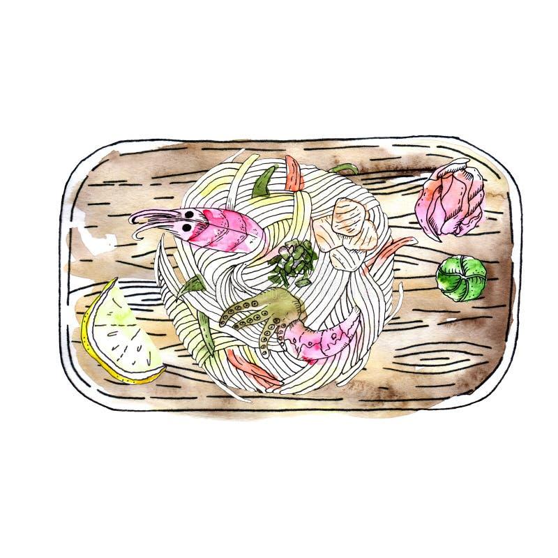 Minestra di pasta del Udon dei frutti di mare, piatto giapponese popolare, con gamberetto, polpa di granchio, pettine, crocchetta illustrazione vettoriale