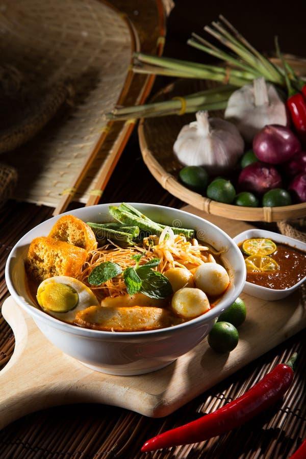 minestra di pasta piccante del curry tradizionale fotografie stock