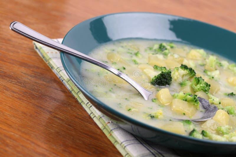Minestra di patate e del broccolo immagini stock