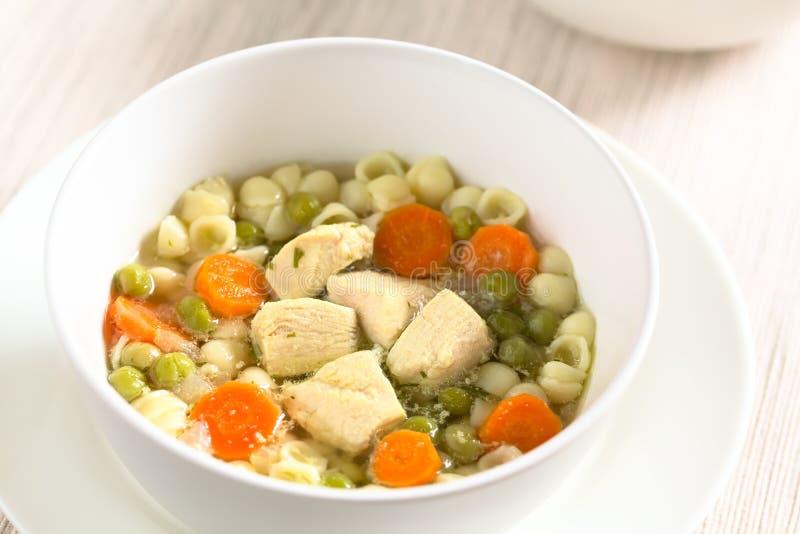 Minestra di pollo casalinga con il pisello, la carota e Shell Pasta fotografia stock libera da diritti