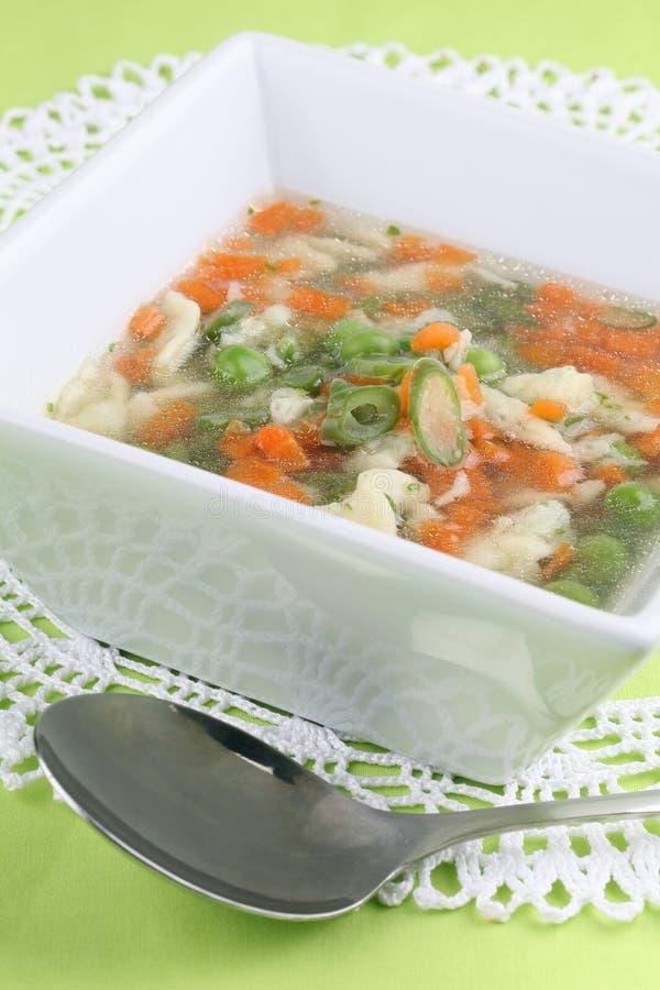 Minestra di pollo con le verdure immagini stock