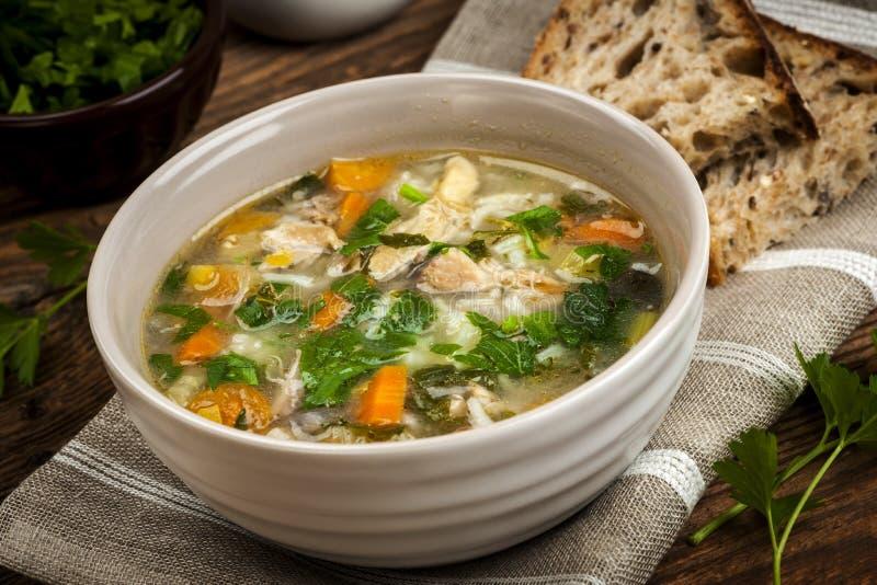 Minestra di pollo con riso e le verdure immagini stock