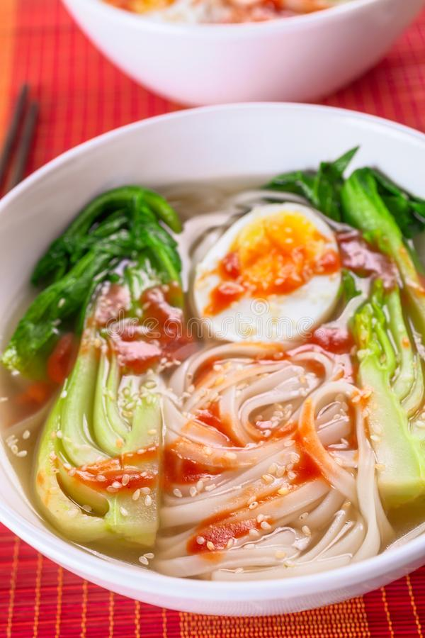 Minestra di tagliatelle asiatica del riso con Bok Choi immagine stock libera da diritti