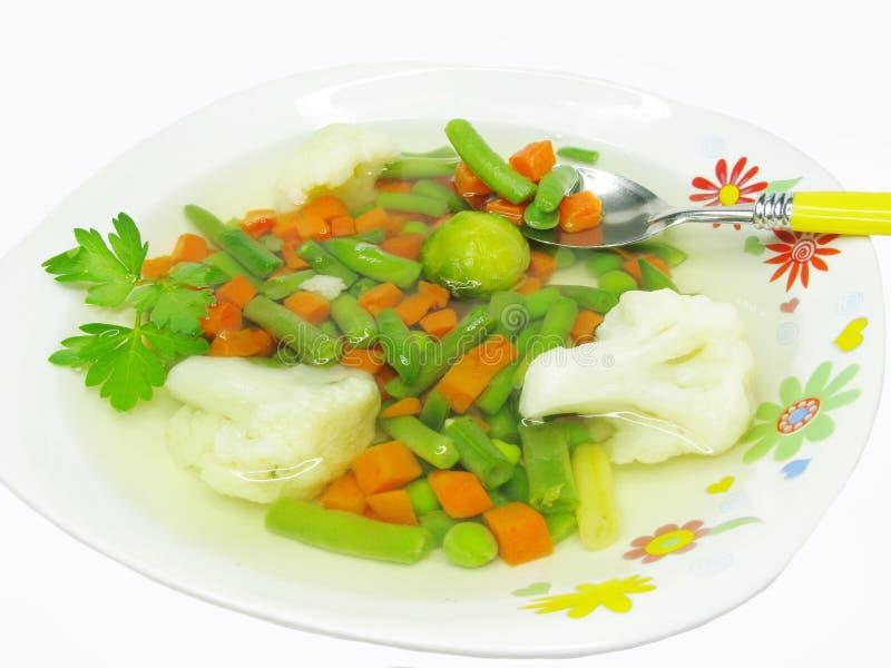 Minestra di verdura con il cavolo verzotto ed i cavolini di Bruxelles immagine stock libera da diritti