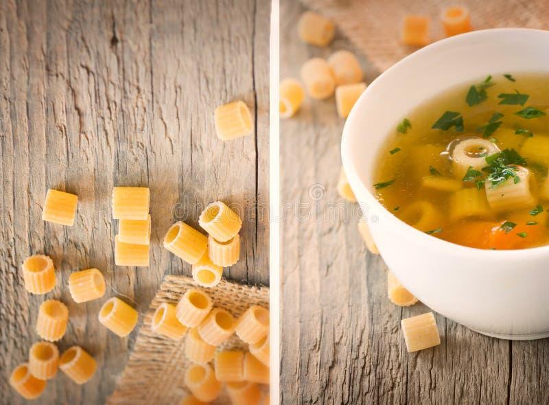 Minestra di verdura del collage con pasta fotografia stock