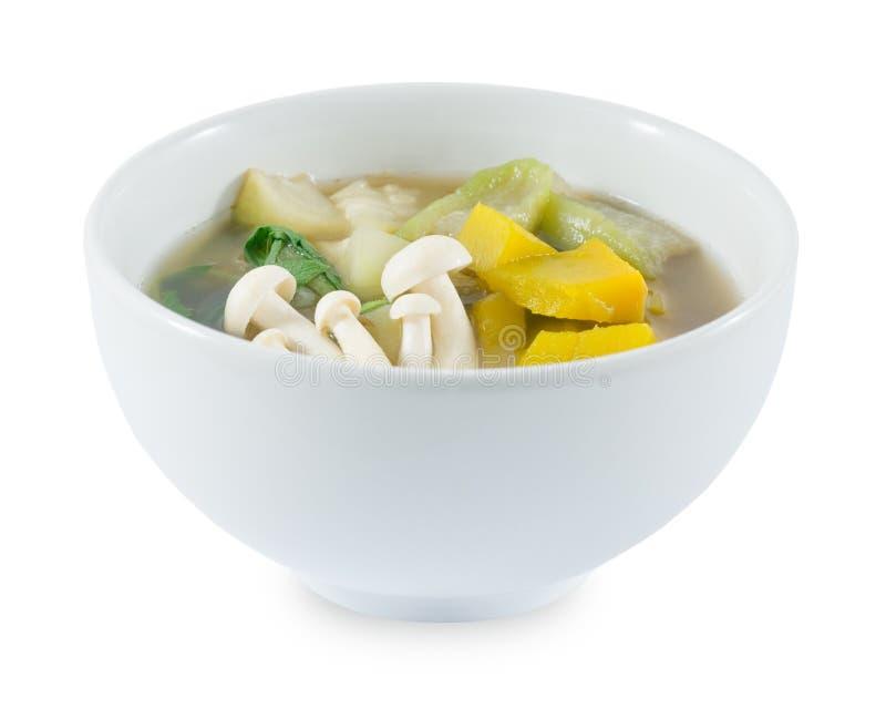 Minestra di verdure mista calda e piccante tailandese su fondo bianco immagine stock