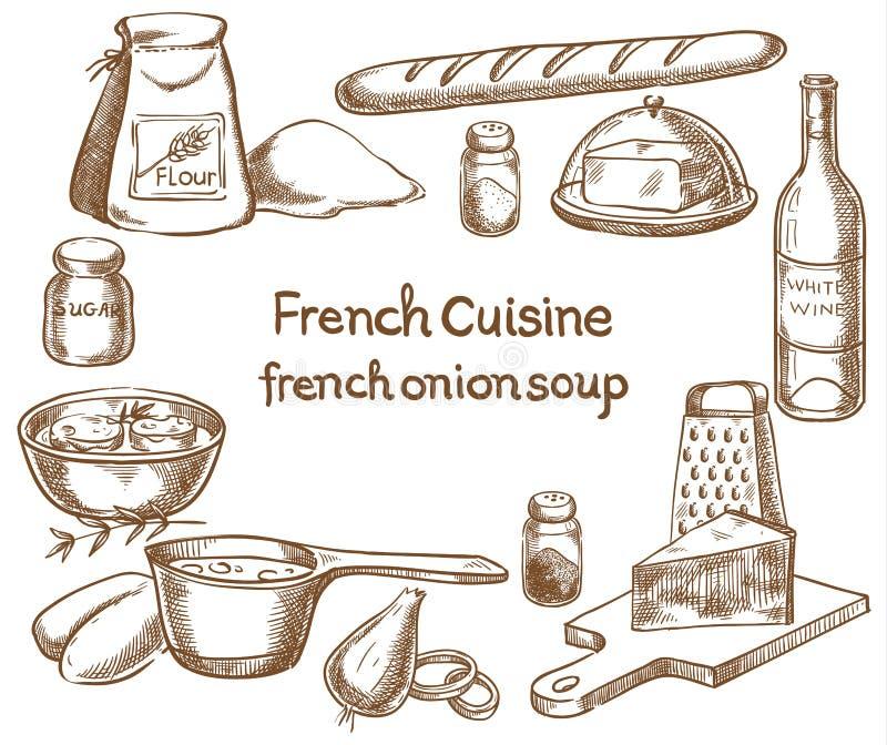 Minestra francese della cipolla, ingredienti illustrazione vettoriale