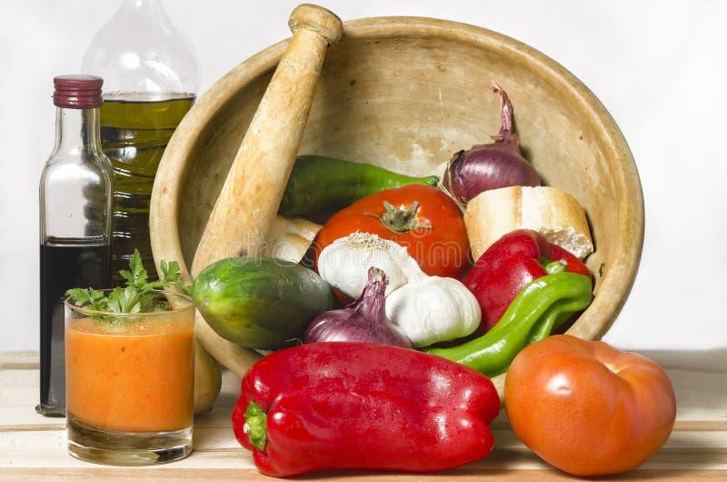Minestra fredda delle verdure, zuppa di verdure fredda della spagna fotografia stock libera da diritti