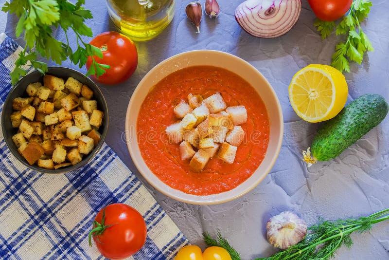 Minestra Gazpacho del pomodoro immagine stock