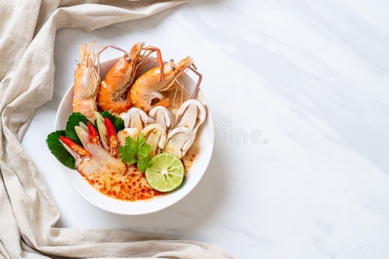 minestra piccante dei gamberetti (Tom Yum Goong immagini stock