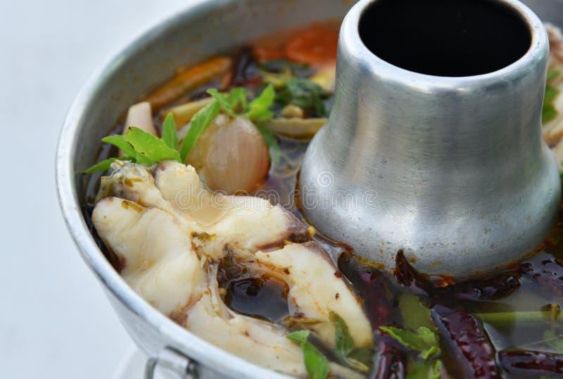 Minestra piccante tailandese con il pesce - minestra di Tom Yum immagini stock libere da diritti
