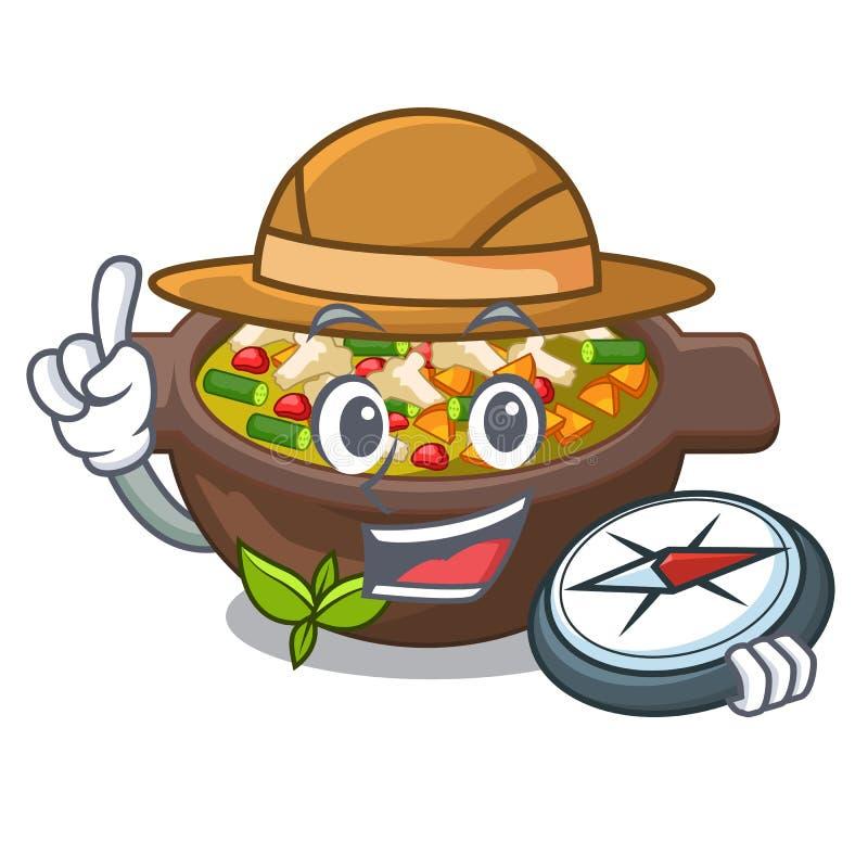 Minestrone fritado explorador no caráter do copo ilustração royalty free
