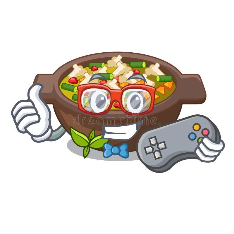 Minestrone fritado Gamer no caráter do copo ilustração royalty free