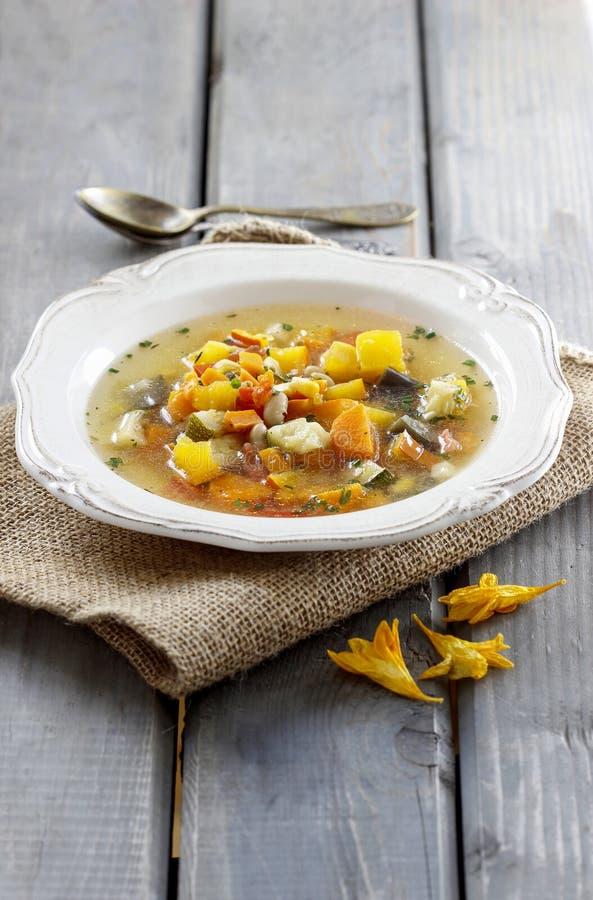 Minestrone, sopa vegetal fotografia de stock royalty free
