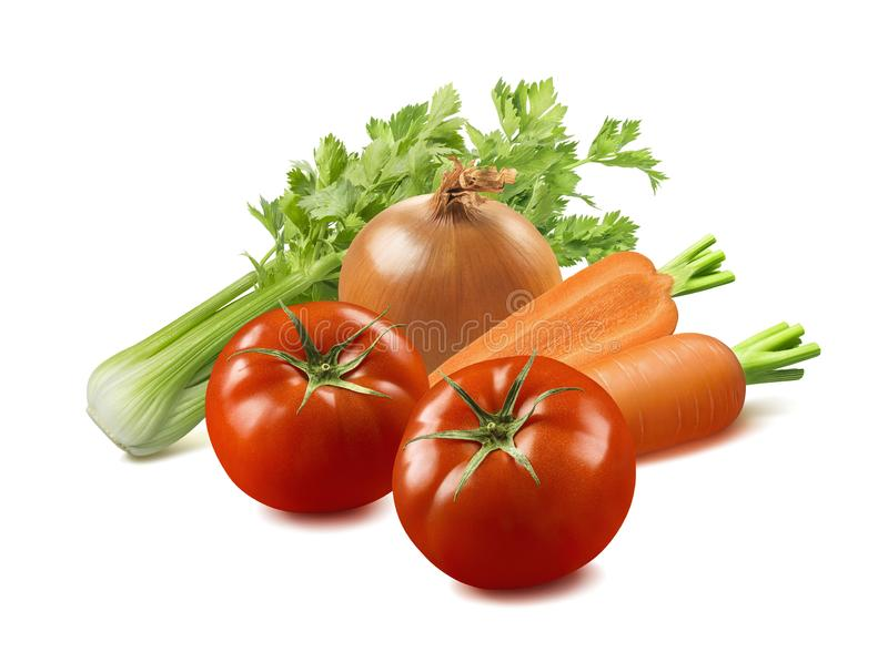 Minestrone vegetable soup ingredients isolated on white background royalty free stock photo