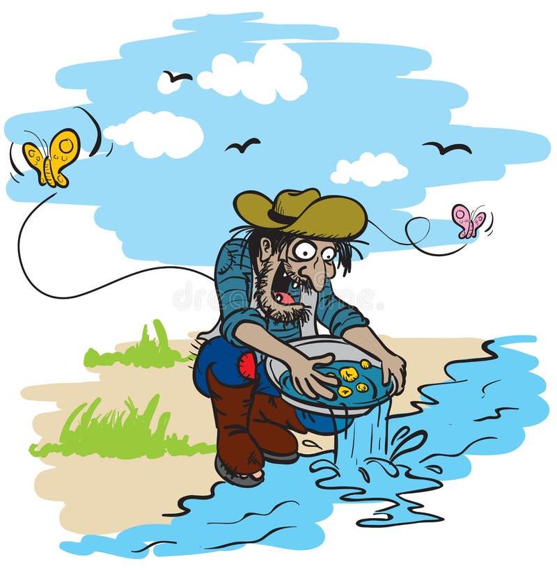 Mineur d'or heureux illustration stock