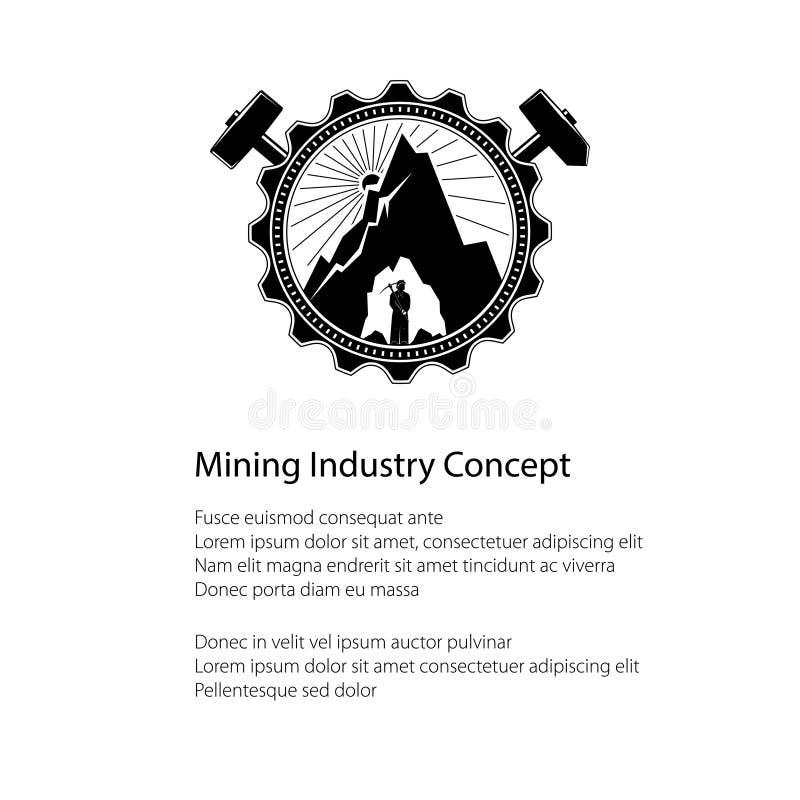 Mineur dans les profondeurs de la montagne, affiche illustration stock