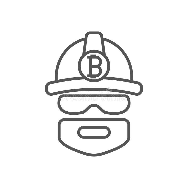 Mineur de Bitcoin extrayant des bitcoins Logo de mineur Devises de Bitcoin d'exploitation cryptos Illustration de vecteur Course  illustration de vecteur